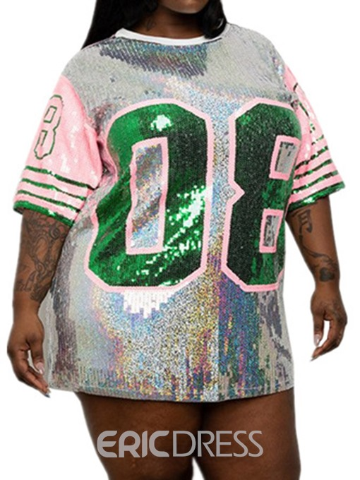 Ericdress Round Neck Sequins Letter Plus Size T-Shirt