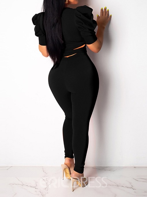 Ericdress Lace-Up Plain Sexy Skinny T-Shirt And Pants Two Piece Sets