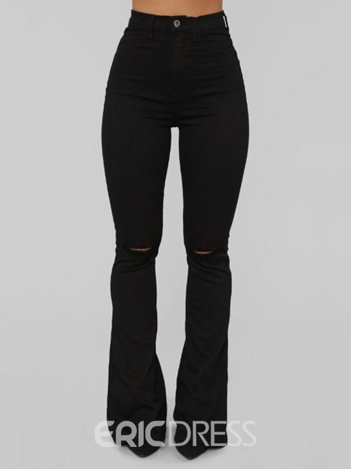 Ericdress Suspenders Plain Zipper Slim Bellbottoms Jeans