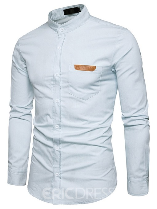 Ericdress Stand Collar Button Slim Mens Shirt