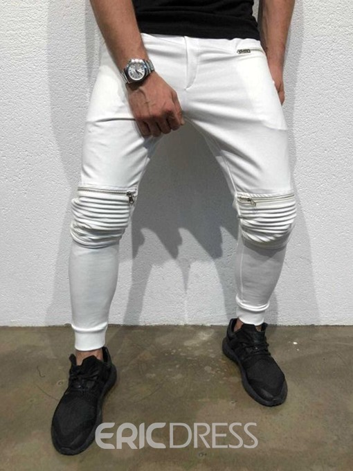 Ericdress Pleated Plain Casual Mid Waist Mens Casual Pants