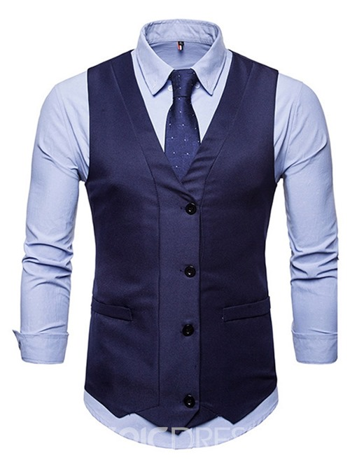 Ericdress Button V-Neck Plain Single-Breasted Mens Spring Waistcoat