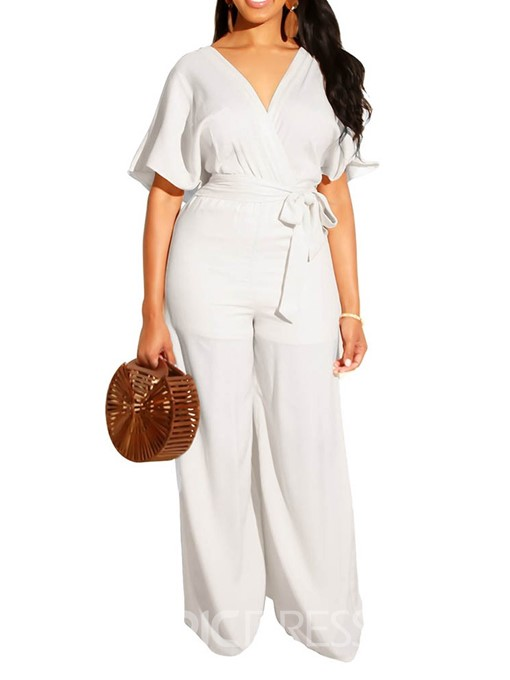 Ericdress Bowknot Plain White Loose Wide Legs Jumpsuit