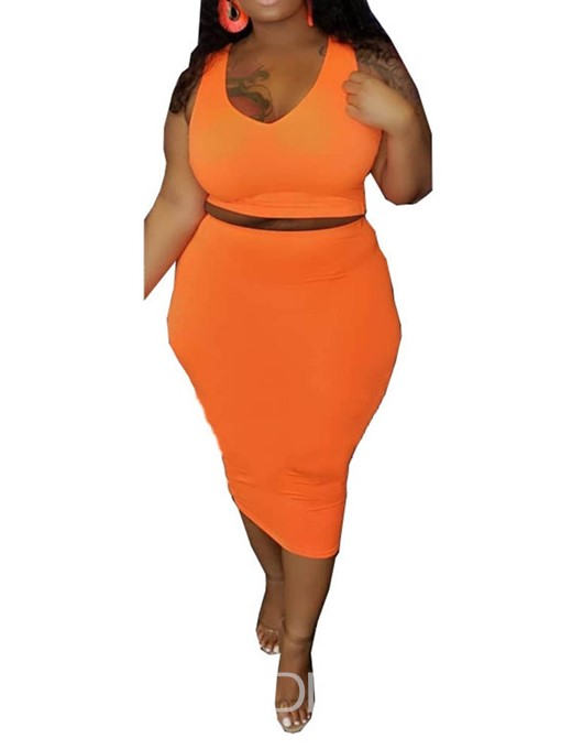 Ericdress Plus Size Office Lady Plain Bodycon Vest And Skirt Two Piece Sets