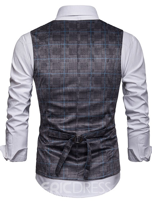 Ericdress Plaid Button V-Neck Fashion Double-Breasted Mens Waistcoat