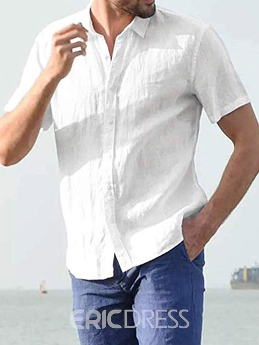 Ericdress Casual Button Lapel Single-Breasted Mens Loose Shirt