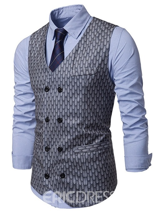 Ericdress V-Neck Pocket Plain Double-Breasted Mens Waistcoat