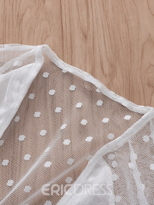 Ericdress See-Through V-Neck Polka Dots Blouse