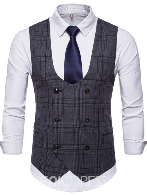 Ericdress Button Plaid Double-Breasted Mens Waistcoat