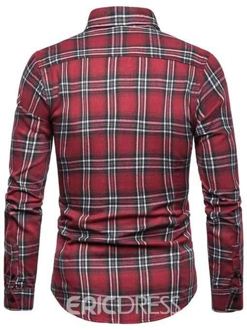 Ericdress Casual Plaid Button Mens Loose Shirt