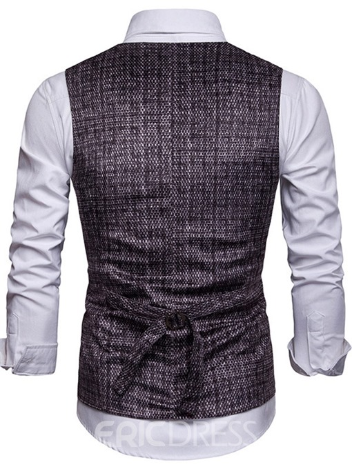 Ericdress V-Neck Button Plaid Single-Breasted Mens Waistcoat