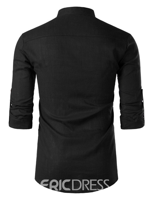 Ericdress Button Casual Plain Slim Mens Shirt