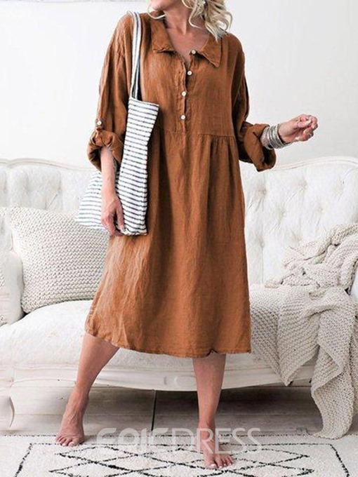 Ericdress Lapel Mid-Calf Long Sleeve Plain Regular Casual Dress