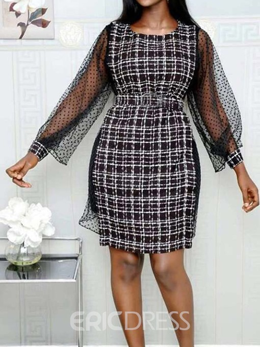 Ericdress Above Knee Patchwork Mesh Plaid Regular Dress