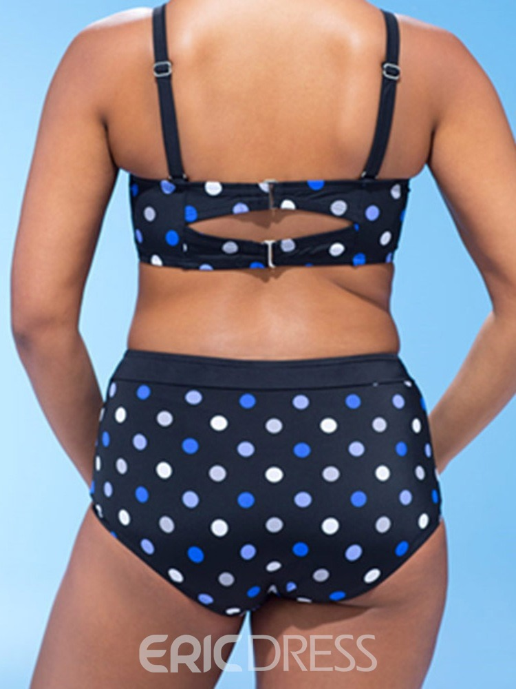 Ericdress Print Polka Dots Plus Size Swimsuit