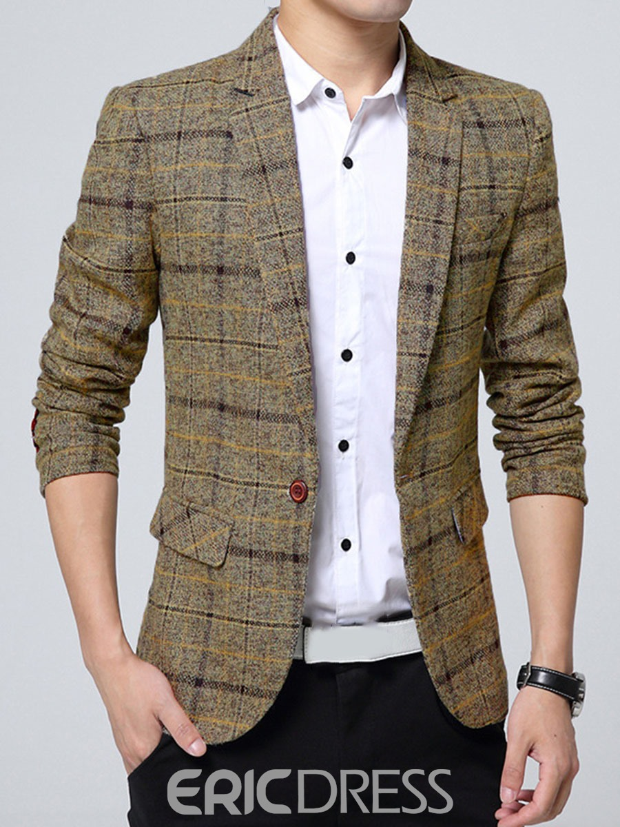 Ericdress One Button Plaid Lapel Vogue Slim Men's Blazer