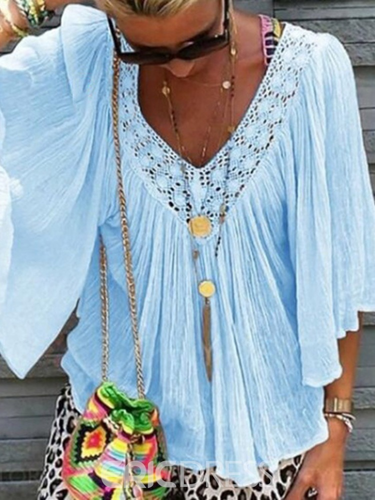 Ericdress V-Neck Lace Summer Blouse