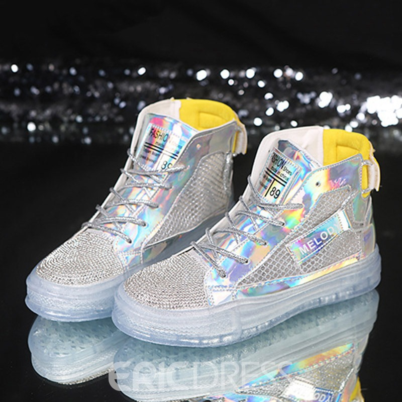 Ericdress Sequin High-Cut Upper Lace-Up Round Toe Women's Sneakers