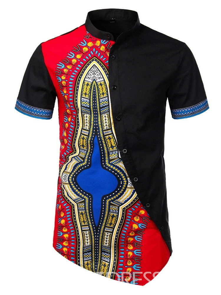 Ericdress African Fashion Dashiki Ethnic Mens Slim Shirt