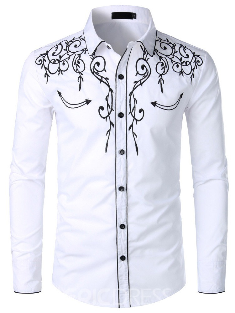 Ericdress Casual Lapel Button Spring Mens Single-Breasted Shirt