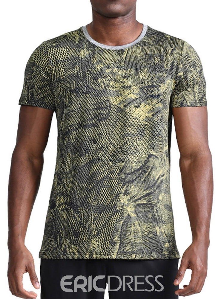 Ericdress Round Neck Sports Color Block Loose Mens Short Sleeve T-shirt