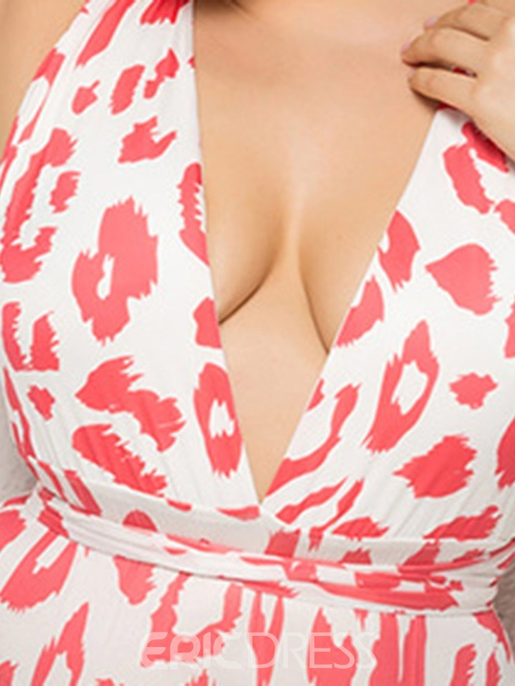 Ericdress Leopard Sexy Plus Size Lace-Up Swimwear