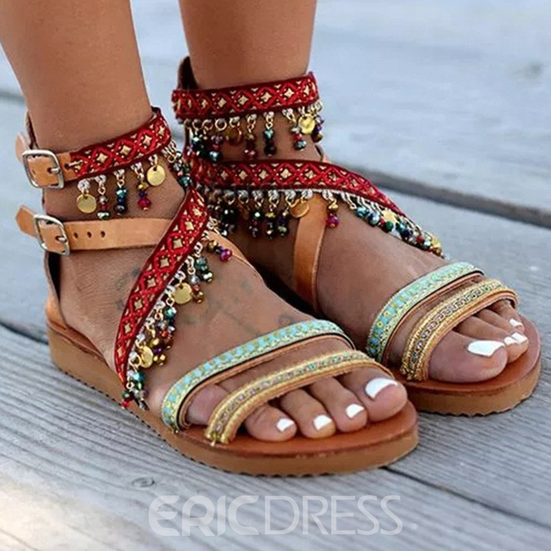 Ericdress Sequin Zipper Open Toe Women's Flat Sandals