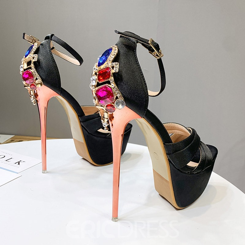 Ericdress Silk Fabric Rhinestone Stiletto Heel Heel Covering Women's Sandals