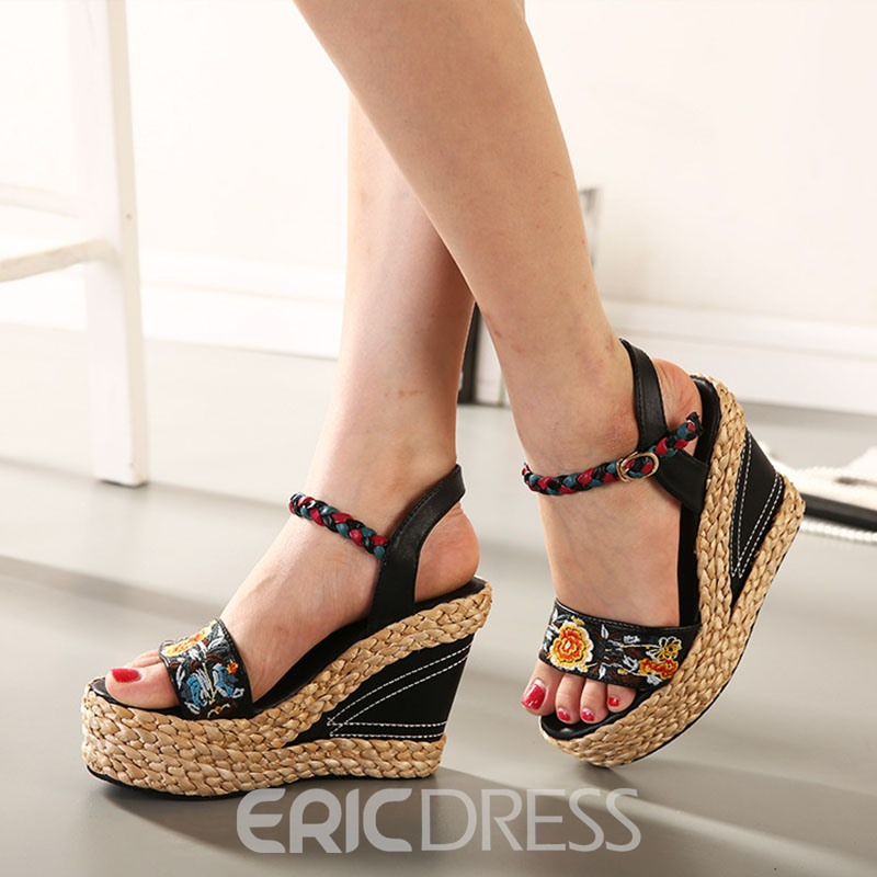 Ericdress Floral Ethnic Wedge Heel Ankle Strap Women's Sandals