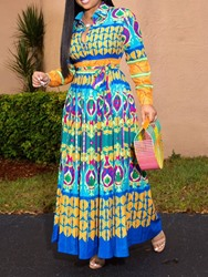 Ericdress Plus Size African Fashion Print Lapel A-Line Geometric Dress фото