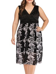 Ericdress Plus Size V-Neck Sleeveless Pleated Print High Waist Dress thumbnail