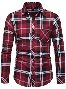Ericdress Casual Lapel Pocket Slim Mens Spring Shirt