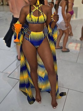 Ericdress Print Color Block African Fashion Swimsuit