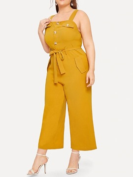 Ericdress Plus Size Bowknot Button Office Lady Slim Jumpsuit