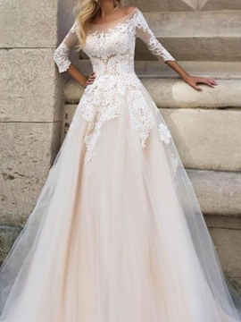 Ericdress Appliques 3/4 Length Sleeves Wedding Dress 2019