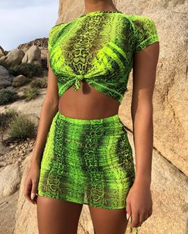 Ericdress Color Block Print Bodycon T-Shirt And Mini Skirt Two Piece Sets