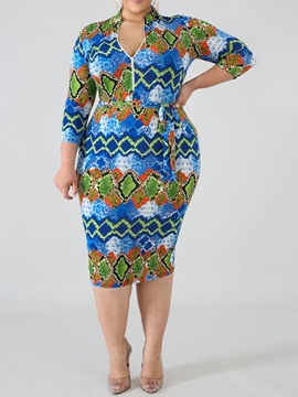 Ericdress African Fashion Plus Size Stand Collar Regular Pullover Dress