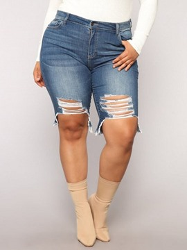Ericdress Plus Size Plain Zipper Skinny Ripped Shorts