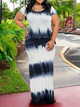 Ericdress Floor-Length Print Plus Size Regular Color Block Dress