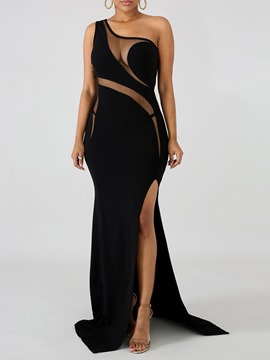 Ericdress Floor-Length See-Through Oblique Collar Plain Party Dress