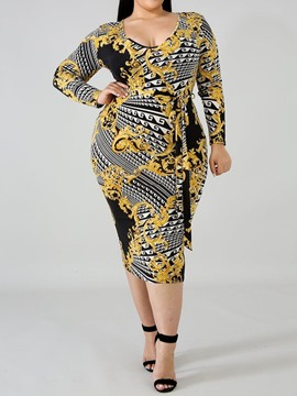 Ericdress Scoop Print Long Sleeve Ethnic Geometric Plus Size Dress