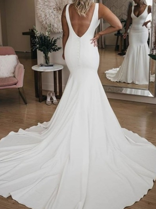 Ericdress Floor-Length Mermaid V-Neck Court Hall Wedding Dress 2020