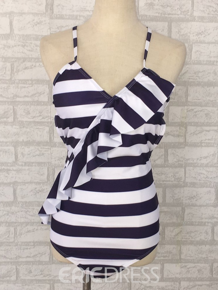 Ericdress Lace-Up Stripe Floral Swimwear