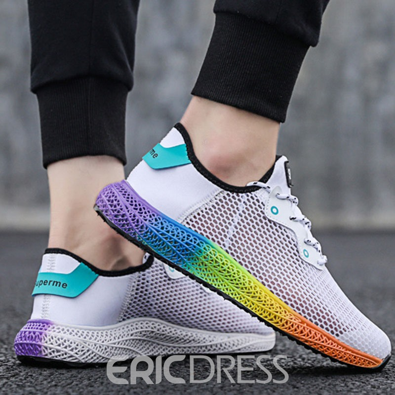 Ericdress Mesh Letter Color Block Round Toe Men's Athletic Shoes