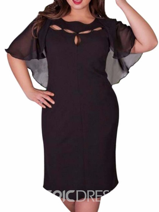 Ericdress See-Through Half Sleeve Plus Size Mid Waist Batwing Sleeve Dress