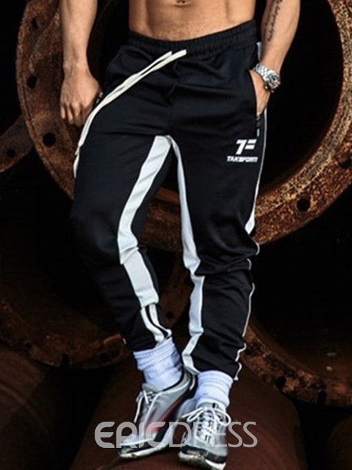 Ericdress Color Block Pocket Thin Lace-Up Sports Mens Casual Pants