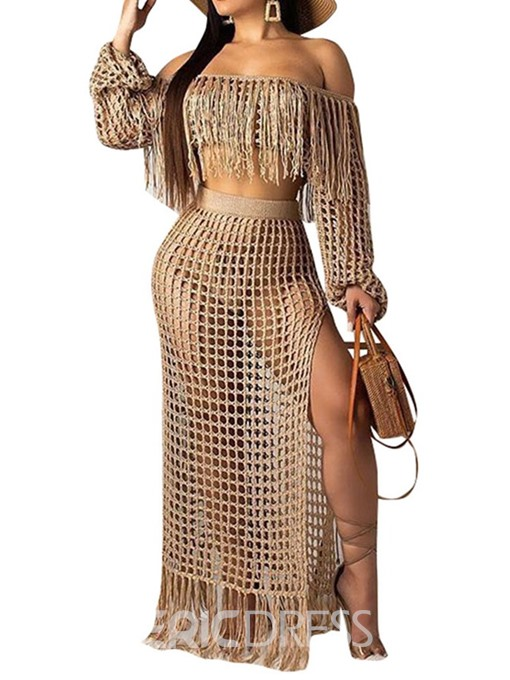 Ericdress Plain Tassel Mesh See-Through Off Shoulder T-Shirt And Skirt Two Piece Sets