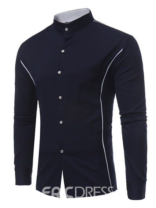 Ericdress Color Block Casual Stand Collar Mens Single-Breasted Shirt