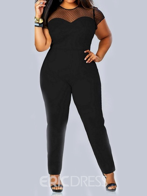 Ericdress Plus Size Patchwork See-Through Straight Loose Jumpsuit