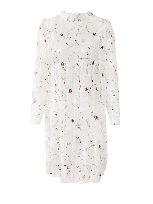 Ericdress Floral Round Neck See-Through EmbroideryBlouse